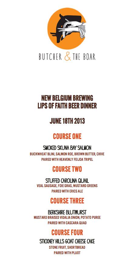 New Belgium Beer Dinner with Eric Salazar