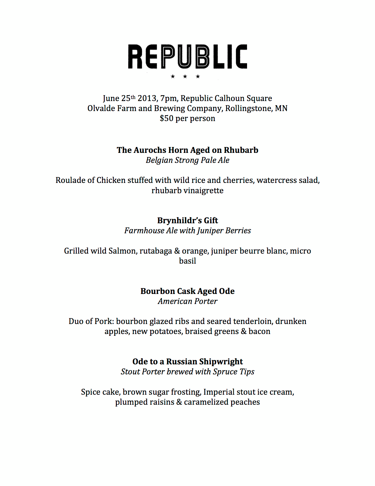 Olvalde Beer Dinner at Republic Calhoun Square