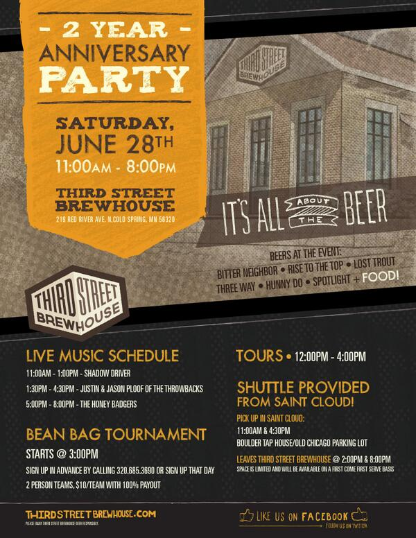 Third Street Brewhouse 2 year Anniversary