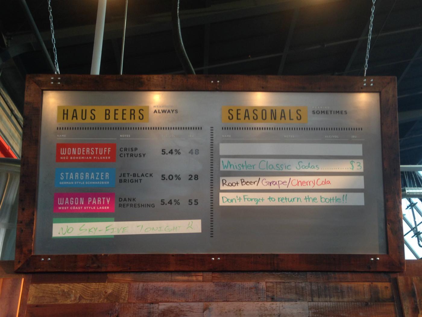 bauhaus Brew Labs taproom board