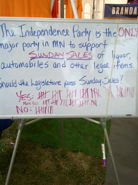 Independence Party of Minnesota supports Sundays liquor sales