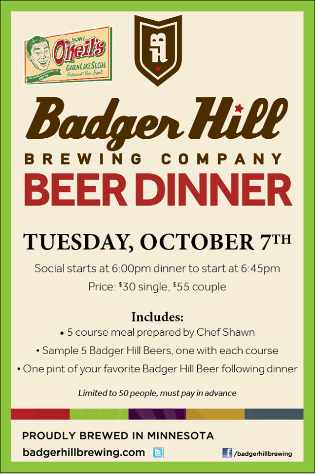 badger hill beer dinner