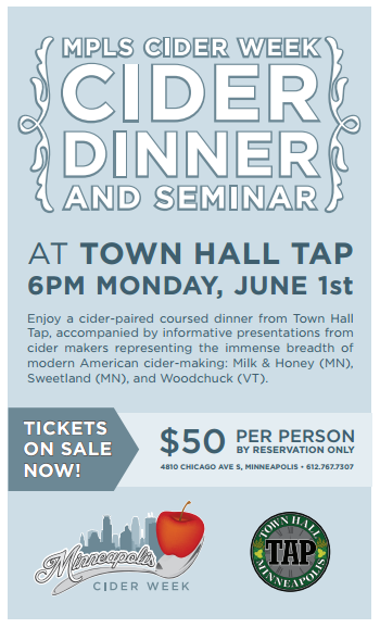 Cider Dinner and Seminar at Town Hall Tap
