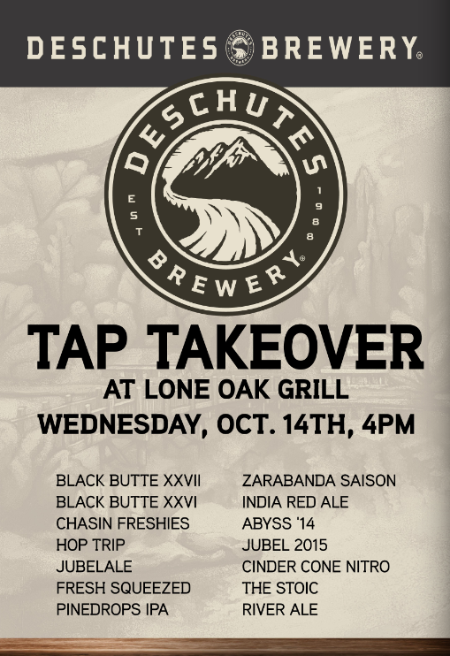 Deschutes Brewery Tap Takeover at Lone Oak Grill
