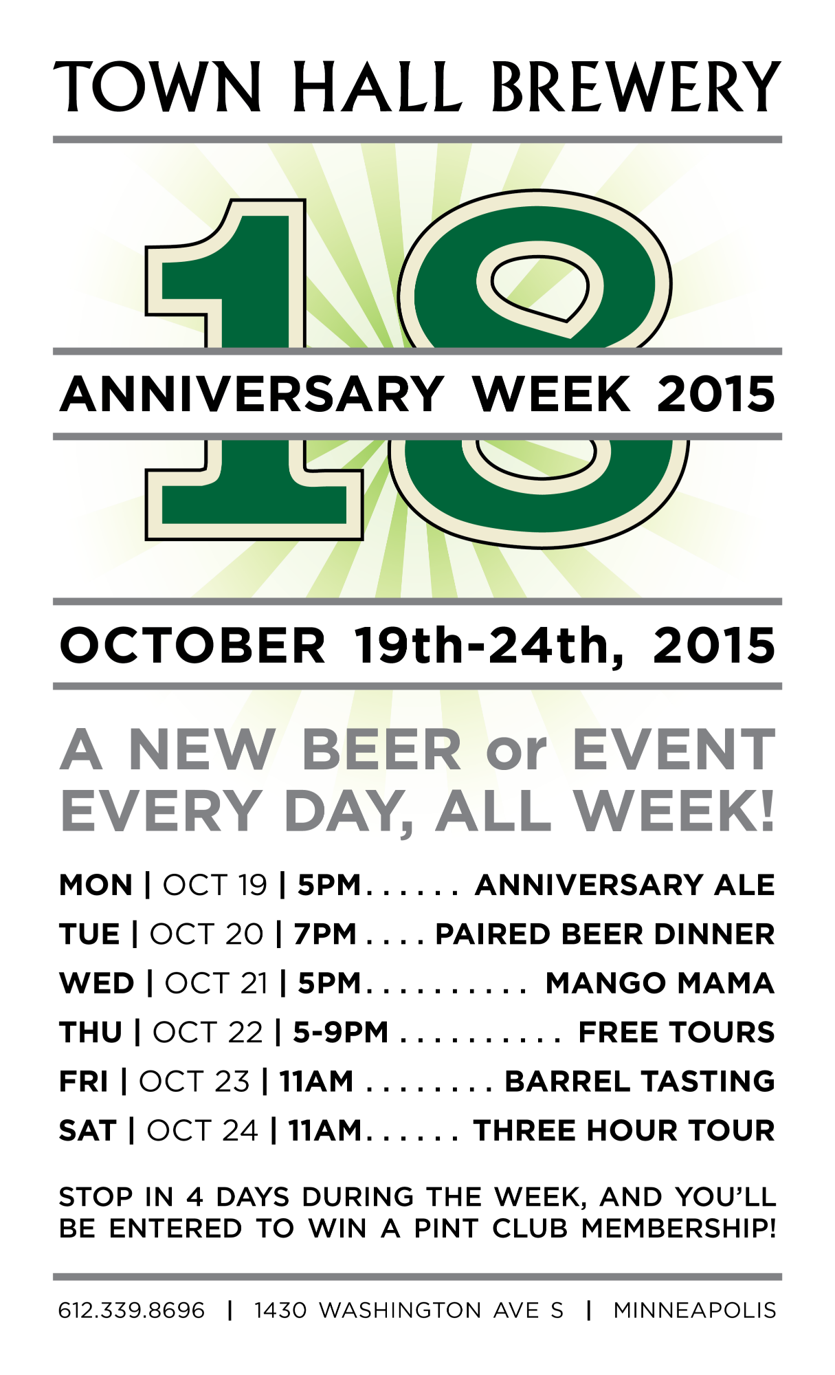 Minneapolis Town Hall Brewery Anniversary Week 2015