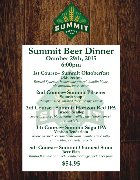 Summit beer Dinner at Woolley's Steakhouse