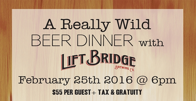 A Really Wild Beer Dinner with Lift Bridge Brewing Company