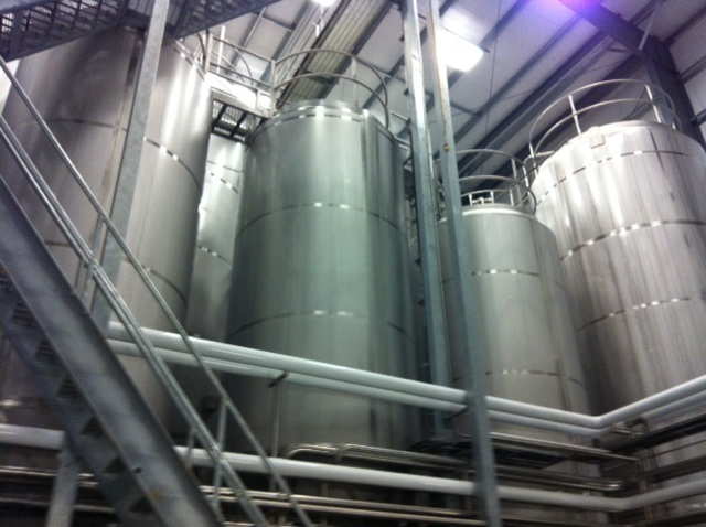 Picture of the tank farm inside the brewery